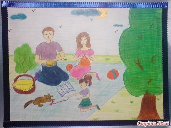 Детские рисунки я и моя семья конкурс
